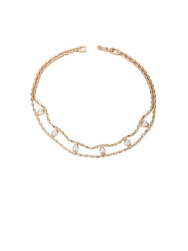 golden Brass Imitation Pearl Geometric Vintage Beaded Necklace