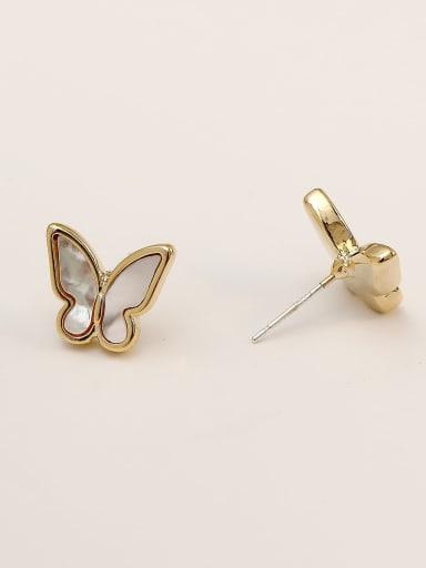 14k Gold Brass Shell Butterfly Cute Clip Earring