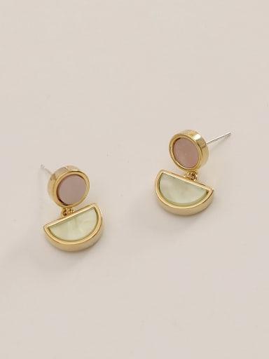 Light green Brass Shell Geometric Ethnic Drop Earring