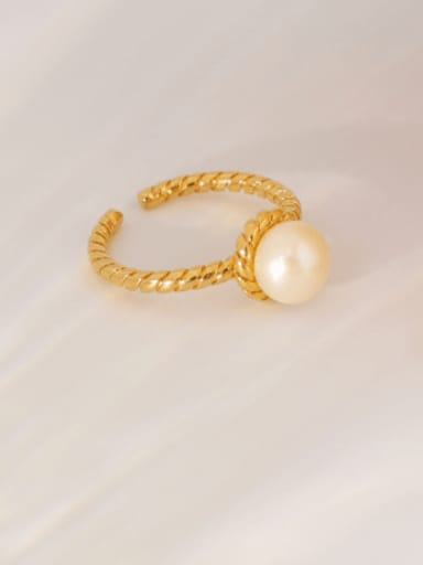 Steamed bread bead ring Brass Imitation Pearl Geometric Vintage Band Ring