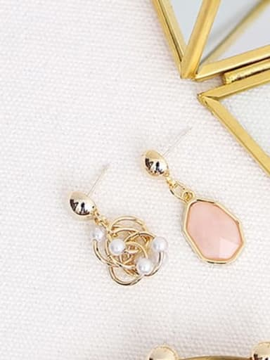 pink Copper Resin Geometric Bohemia Drop Trend Korean Fashion Earring