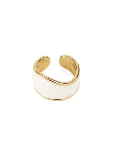 Brass Enamel Geometric Minimalist Band Ring