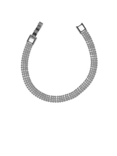 platinum Brass Bead Geometric Minimalist Beaded Bracelet