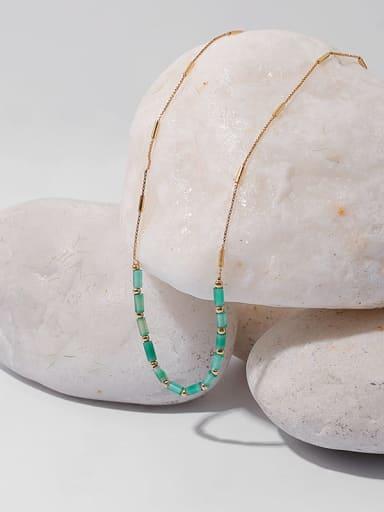 Brass Zircon Geometric Minimalist Necklace