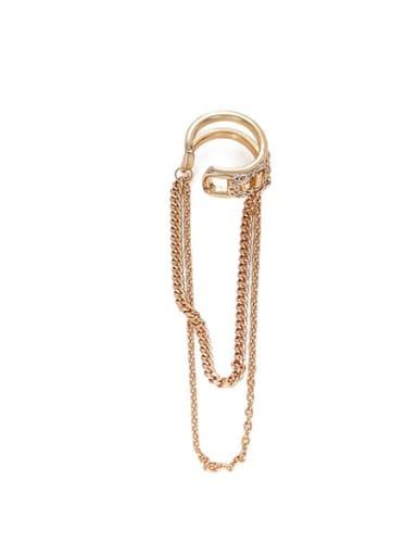 Brass Cubic Zirconia Tassel Hip Hop Single Clip Earring