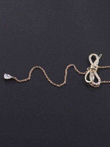 Brass Cubic Zirconia Tassel Minimalist Lariat Necklace