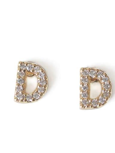 D Brass Cubic Zirconia Letter Minimalist Stud Earring