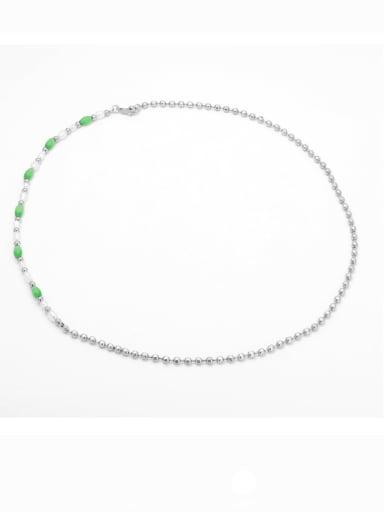steel Brass Imitation Pearl Geometric Minimalist Beaded Necklace