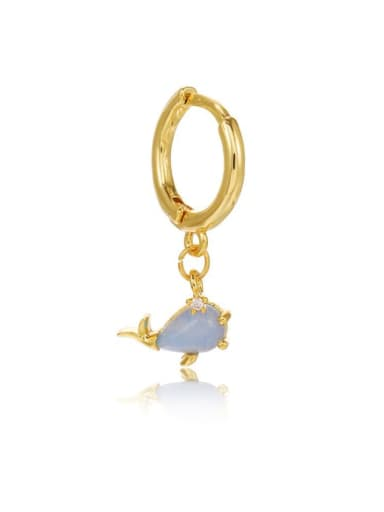 Little dolphin Brass Cubic Zirconia Multi Color Ocean animal Cute Huggie Earring