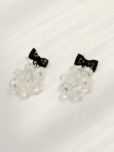 white Brass Crystal Bowknot Hip Hop Drop Earring