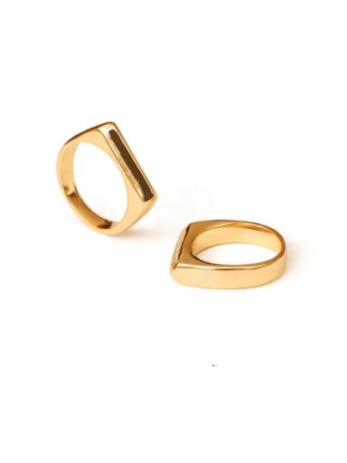 Brass Smooth Geometric Minimalist Midi Ring