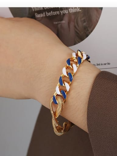 Blue and white drop oil Bracelet Brass Enamel Geometric Minimalist Link Bracelet
