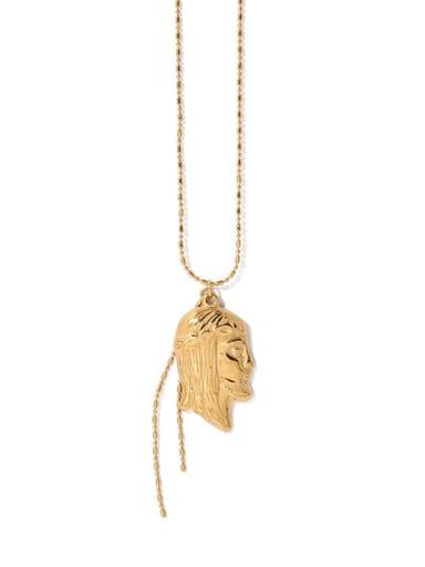 Brass Irregular Portrait Pendant Hip Hop Long Strand Necklace