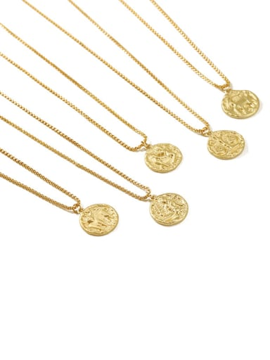Brass coin Minimalist Twelve constellations Pendant Necklace