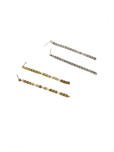 Brass Cubic Zirconia Tassel Classic Threader Earring