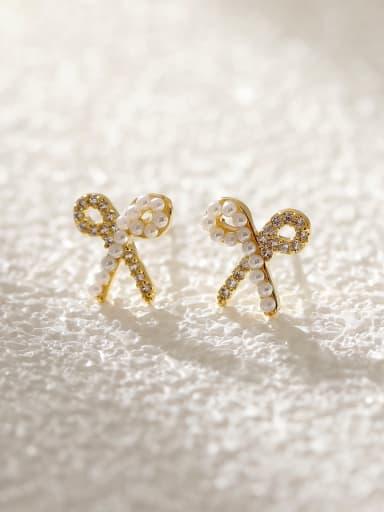 Brass Cubic Zirconia Bowknot Cute Stud Earring