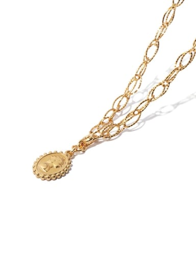 Brass Geometric  chain  Vintage Pendant Necklace