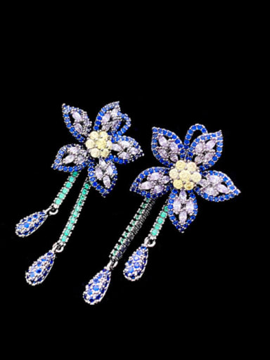 Brass Cubic Zirconia Flower Vintage Cluster Earring