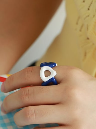 Blue white contrast Brass Enamel Geometric Hip Hop Band Ring