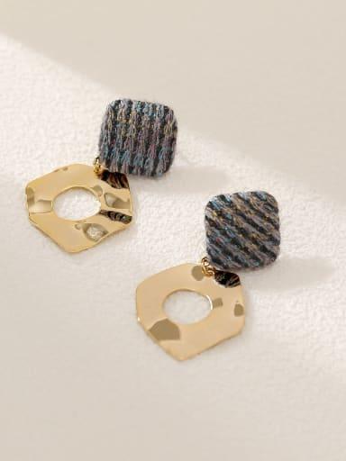 14k Gold +grey Brass Leather Geometric Vintage Drop Earring