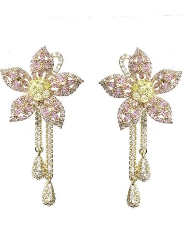 Pink Brass Cubic Zirconia Flower Vintage Cluster Earring