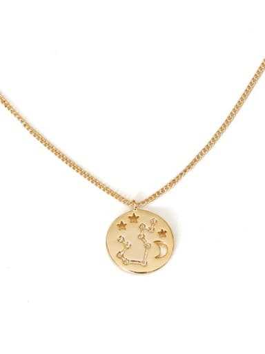aquarius Brass Minimalist  Twelve constellations Pendant Necklace