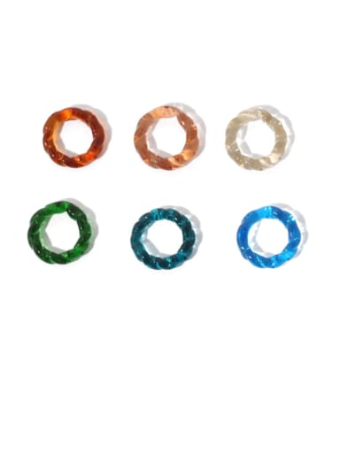 Millefiori Glass Geometric Personality color translucent Twisted Ring