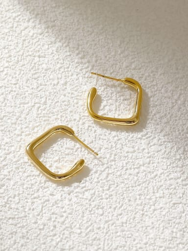 Brass Geometric Minimalist Huggie Earring