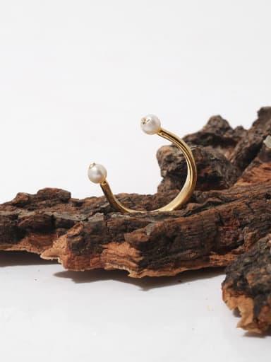 Brass Imitation Pearl Geometric Minimalist Band Ring