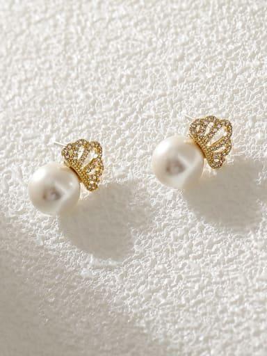 Brass Cubic Zirconia Crown Cute Stud Earring