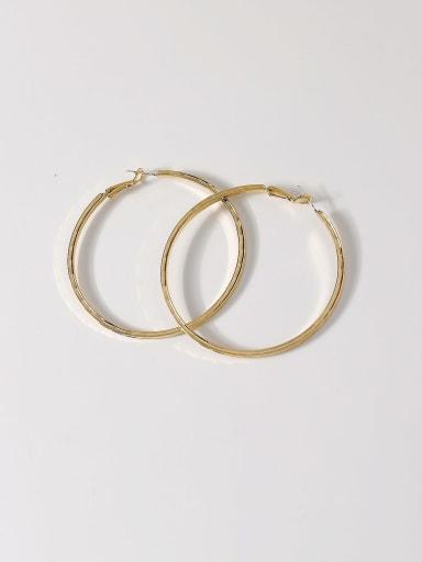 14k Gold Brass Smooth Round Minimalist Hoop Earring