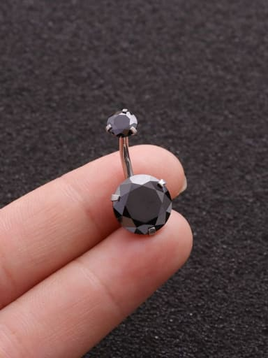 black Titanium Steel Rhinestone Multi Color Round Minimalist Belly Rings & Belly Bars