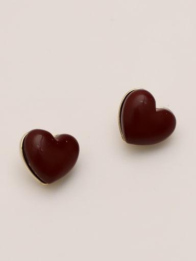 claret Brass Enamel Heart Minimalist Stud Earring
