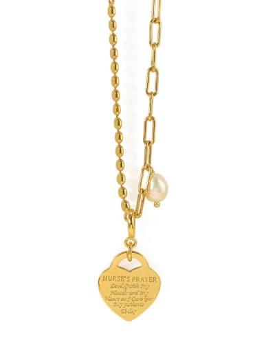Brass Heart Minimalist Beaded Necklace