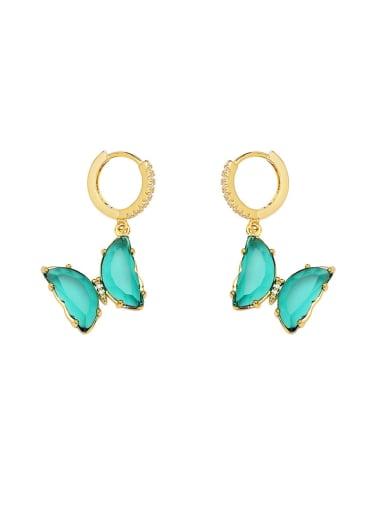 Brass Imitate crystal Butterfly Dainty Drop Earring