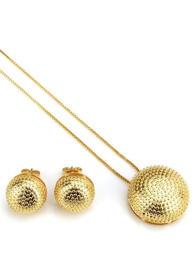 Gold plating Brass Vintage Round ball Earring and Necklace Set