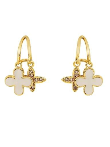 Brass Cubic Zirconia Clover Minimalist Huggie Earring
