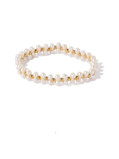 Big Pearl Brass Freshwater Pearl Irregular Ethnic Adjustable Bracelet