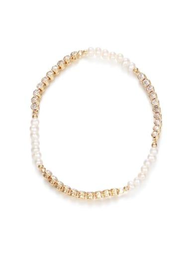 Brass Imitation Pearl Geometric Minimalist Beaded Bracelet
