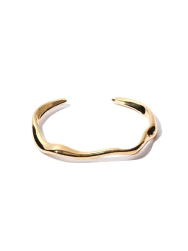 Gold attapulgite Bracelet Brass Smooth   Line  Geometric Minimalist Cuff Bangle