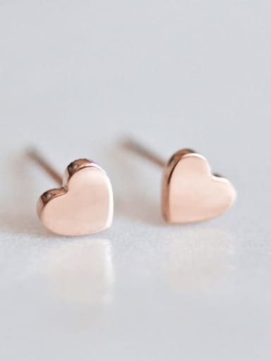 rose gold Stainless steel Heart Minimalist Stud Earring