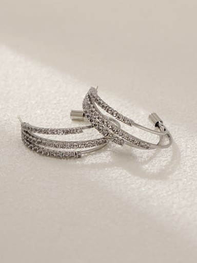 White K Brass Cubic Zirconia Geometric Minimalist Stud Earring