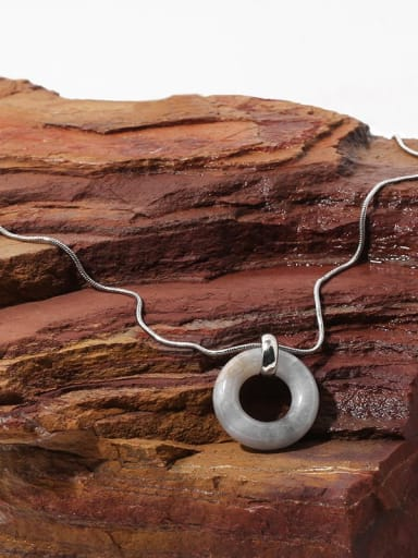 Brass Natural stone Geometric Minimalist Necklace