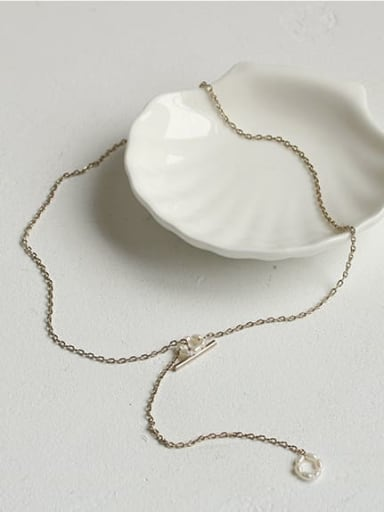 Brass Freshwater Pearl Geometric Vintage Lariat Necklace
