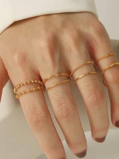 Brass Bead Geometric Minimalist Midi Ring