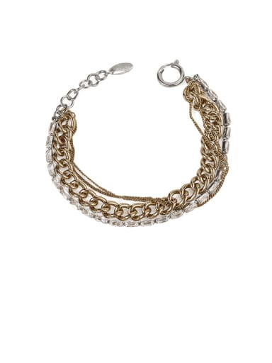 Brass Hollow Geometric Chain Vintage Strand Bracelet