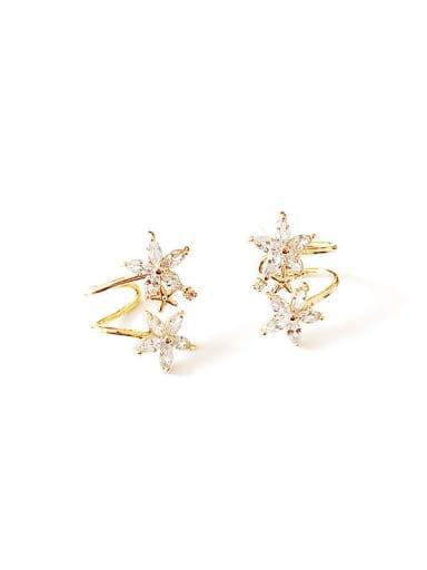 Copper Cubic Zirconia Star Dainty Clip Trend Korean Fashion Earring