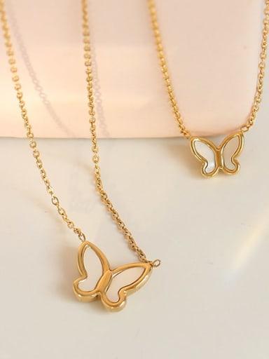 Brass Shell Butterfly Minimalist Necklace