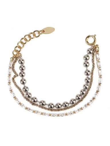 Brass Bead Geometric Hip Hop Strand Bracelet