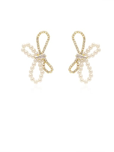 Brass Imitation Pearl Butterfly Artisan Stud Earring